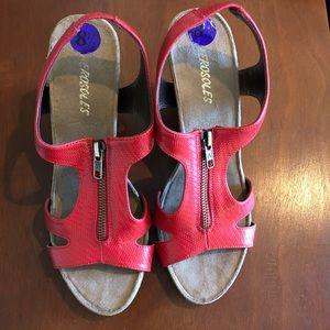 A2 Aerosoles Red Wedge Sandals